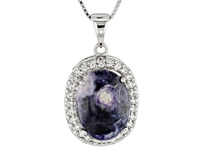 Purple Mexican Morado Opal Sterling Silver Pendant With Chain .50ctw