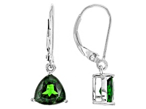 Green Chrome Diopside Sterling Silver Earrings 1.90ctw