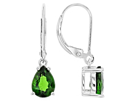Green Chrome Diopside Sterling Silver Earrings 1.76ctw