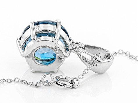Blue Topaz Sterling Silver Pendant With Chain 6.54ct