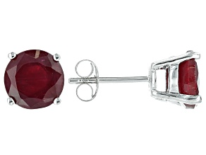 Mahaleo Ruby Rhodium Over Sterling Silver Solitaire Earrings 4.27ctw