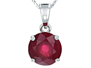 Mahaleo Ruby Sterling Silver Solitaire Pendant With Chain 4.27ct