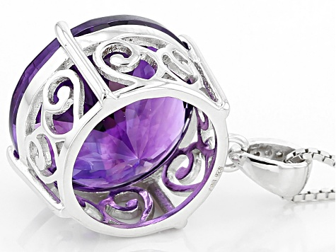 Purple Moroccan Amethyst Sterling Silver Pendant With Chain 10.87ctw
