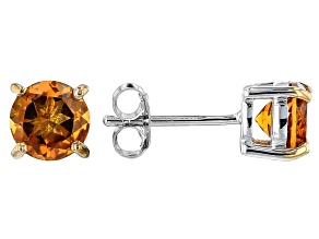 Orange Madeira Citrine Rhodium Over Sterling Silver Stud Earrings 1.28ctw