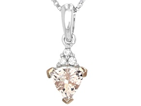Pink Morganite Sterling Silver Pendant With Chain .58ctw