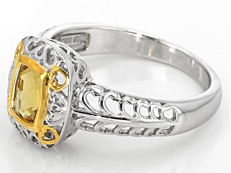 Yellow Heliodor Two-Tone Sterling Silver Ring .69ct