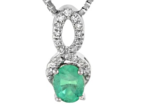 Green Colombian Emerald Silver Slide With Chain .52ctw