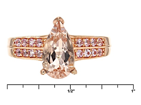 Pink Morganite Two-Tone Sterling Silver Ring 1.57ctw