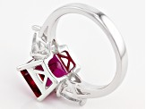 Red Lab Created Bixbite Sterling Silver Ring 3.63ctw