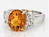 Yellow Brazilian Citrine Sterling Silver Ring 3.25ctw