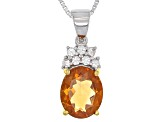 Yellow Brazilian Citrine Sterling Silver Pendant With Chain 2.11ctw