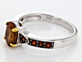 Orange Hessonite Sterling Silver Ring 1.67ctw