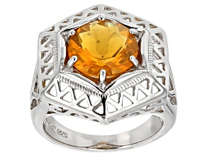 Orange Oregon Fire Opal Sterling Silver Ring 2.10ct