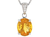 Orange Fire Opal Sterling Silver Pendant With Chain 2.94ctw