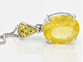 Yellow Lemon Oregon Fire Opal Sterling Silver Pendant With Chain 2.93ctw