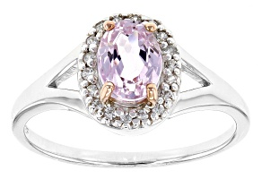 Pink Kunzite Sterling Silver Ring 1.11 Ctw