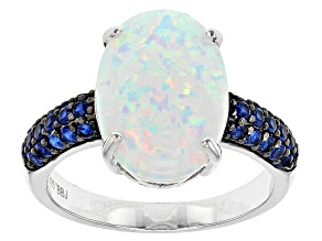 Multicolor Lab Created Opal Sterling Silver Ring 2.42ctw
