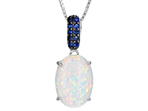 Multicolor Lab Created Opal Sterling Silver Pendant With Chain 2.03ctw
