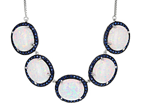 Multicolor Lab Created Opal Sterling Silver Bolo Necklace 15.17ctw
