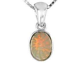 Ethiopian Carved Opal Sterling Silver Pendant With Chain .65ct