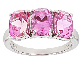 Pink Lab Created Sapphire Sterling Silver Ring 4.92ctw