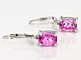 Pink Lab Created Sapphire Sterling Silver Earrings 3.28ctw
