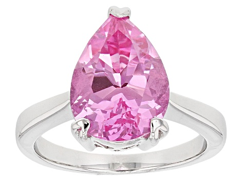 Pink Lab Created Sapphire Sterling Silver Ring 6.47ct