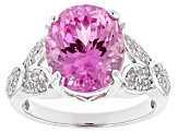 Pink Lab Created Sapphire Silver Ring 6.37ctw