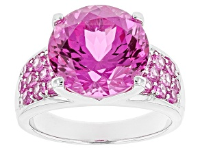 Pink Lab Created Sapphire Sterling Silver Ring 8.69ctw