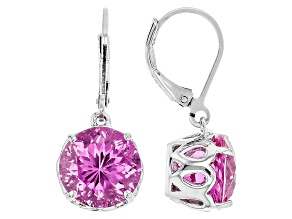 Pink Lab Created Sapphire Sterling Silver Earrings 9.52ctw