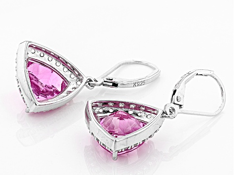 Pink Lab Created Sapphire Sterling Silver Earrings 8.69ctw