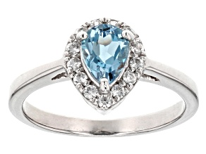 Blue Aquamarine Sterling Silver Ring .57ctw
