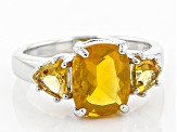 Yellow Oregon Fire Opal Sterling Silver Ring 2.36ctw