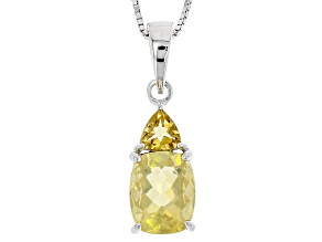 Yellow Fire Opal Silver Pendant With Chain 1.98ctw