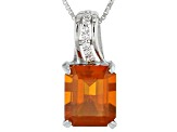 Orange Oregon Fire Opal Silver Pendant With Chain 2.55ctw