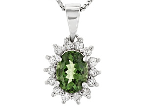 Green Apatitte Sterling Silver Pendant With Chain 1.39ctw