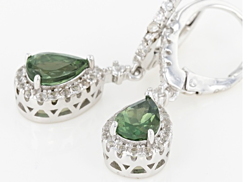 Green Apatite Sterling Silver Earrings 1.48ctw