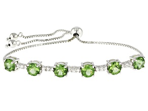Green Apatite Sterling Silver Bolo Bracelet 4.75ctw