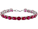 Red lab created ruby rhodium over sterling silver bracelet 24.98ctw
