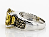 Brown Champagne Quartz Sterling Silver Ring 6.46ctw