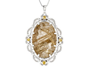 Golden Rutilated Quartz Silver Pendant With Chain 32.84ctw