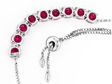 Red Lab Created Ruby Sterling Silver Adjustable Necklace 7.41ctw