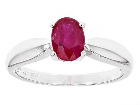 Red Ruby Sterling Silver Solitaire Ring .93ct