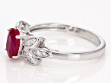 Red Ruby Sterling Silver Ring .89ctw