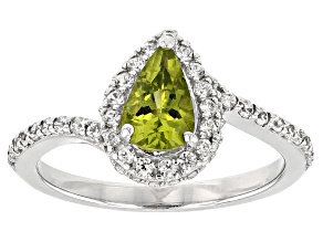 Green peridot sterling silver ring 1.02ctw
