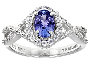 Sterling Silver Tanzanite And White Zircon Ring .98ctw