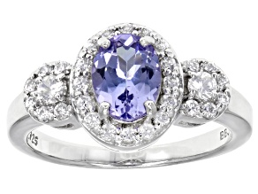 Sterling Silver Tanzanite And  White Zircon Ring 1.66ctw