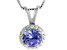Sterling Silver Tanzanite And White Zircon Pendant With Chain 1.88ctw