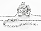 White Topaz Sterling Silver Dog Pendant With Chain 1.08ctw