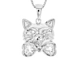 White Topaz Sterling Silver Cat Pendant With Chain 1.06ctw
